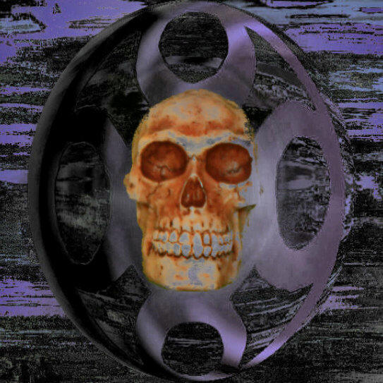 human skull in energetic symbol, Manfred La-Fontaine,  gothic and morbid art,