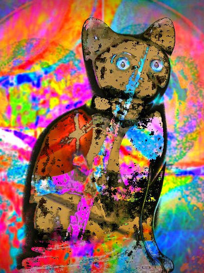 cat in differnet colors, Exposition peinture, manfred la-fontaine,